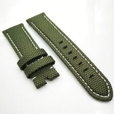 26mm Green Canvas Genuine Leather White Stitch PAM Strap for RADIOMIR LUMINOR