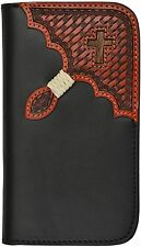 LEATHER WESTERN SAMSUNG GALAXY S4 CELL PHONE HOLDER BASKET HAIR CROSS WALLET