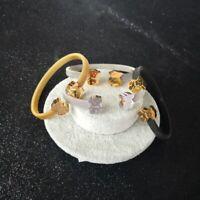 Fashion Bangle Women Men Cartoon Bear Titanium Steel Open Cuff Bracelet Gift