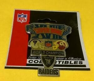 OAKLAND RAIDERS NFL SUPER BOWL XVIII (18) CHAMPIONS VINTAGE COLLECTOR PIN