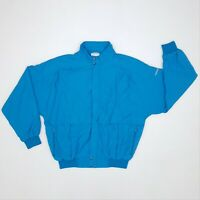 Vintage Adidas Bomber/Track Jacket Small Light Blue Full-Zip Trefoil Spell-Out