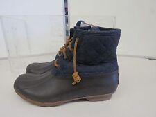 Sperry Top-Sider Women's Saltwater Wool Brown Navy Duck Boots Size 10 M C918