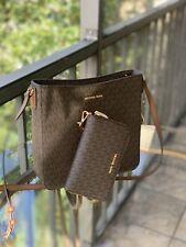 Michael Kors Leather Messenger Shoulder Crossbody Handbag Purse+ Wallet set