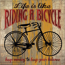 Life is Like Riding a Bicycle Art Poster Print by Maria Donovan, 12x12