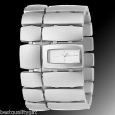 NEW-DKNY ALUMINUM BRUSHED SILVER TONE WIDE CUFF BAND LADY WATCH NY4379