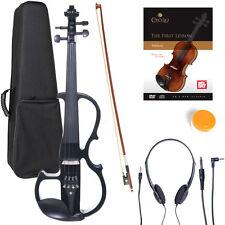 NEW 4/4 Ebony Electric Violin w/Pickup -Black & Style2