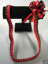 Hawaiian Braid Metalic Edge Ribbon Lei Red and Black