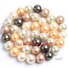 10mm Multicolor Shell MOP Pearl Round Shape Gemstone Loose Beads Strand 15""