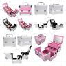 Pro Aluminum Makeup Train Case Jewelry Box Cosmetic Organizer Silver~~