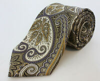 Brooks Brothers USA Heavy Twill Madder Golden Yellows Brocade Paisley Silk Tie