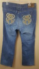AFFLICTION Denim Killers Men's Jeans 37X30 Straight Leg Blue Embroidered Zipper
