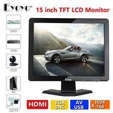 "15"" TFT LCD Screen Monitor AV/VGA/BNC/HDMI 1024*768 For Security DVR PC Gaming"
