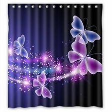 66x72in Polyester Fabric Waterproof Shower Curtain For Bathroom Purple Butterfly