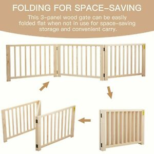 """17.5"""" H Foldable Pet Dog Fence Free Standing Folding Solid Wood Playpen Gate"""