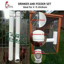 WATCHFUL ROOSTER - Chicken Feeder & Drinker Set / Chook Waterer / Poultry Coop