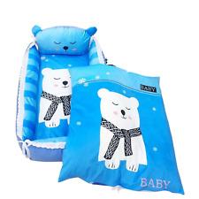 Baby Sleeper Cotton Portable Lounger and Co Sleeper with Blue Polar Bear