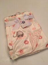 Be Little Baby Girls Blanket Velour Pink Ivory Chevron Elephant Layette 30x40