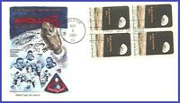 USA #1371 U/A FLEETWOOD FDC BL4  Apollo 8 Moon Orbit