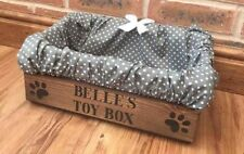 SMALL PERSONALISED WOOD TOY TREAT BOX WITH GREY SPOT LINER BOW  DOG CAT PUPPY