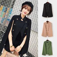 Women's Double Breasted Cape Cardigan Jacket Open Placket Blazer Cloak Coat Suit