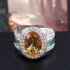 Natural Citrine & Emerald Gemstone with 925 Sterling Silver Ring for Men's