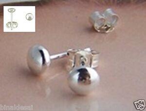 Kids Girls 925 Sterling Silver 5mm Small Flat Bead Ball Studs Earrings GIFT NEW
