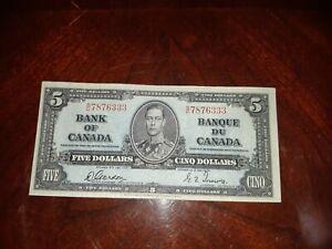 Nice Bank Of Canada 1937 $5 Dollar Banknote