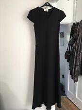 Wallis Size Uk 10 Cap Sleeve Black Maxi Dress.   (b18)