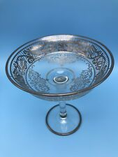 "Silver Overlay Glass Compote Bowl  Pomegranate Motif 6.5"" Tall 6"" Diameter"