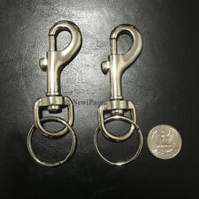 2PC Snap Clasp Hook Trigger Belt Clip Silver Metal Key chain With Large Key Ring