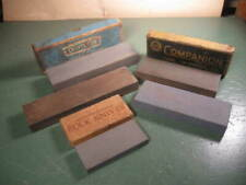 OLD USED VINTAGE TOOLS SHARPENING HONING STONES GROUP NICE SHAPE.