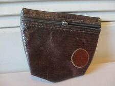WOMENS CARLOS FALCHI BROWN LEATHER FRONT ZIPPER MAKE-UP POUCH