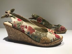 I Love Billy ❤️ Wedges Sandals Cork Heel Floral Open Toe Summer Casual Size 38 L