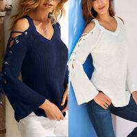 Womens Cold Shoulder Sweater Knit Lace Up Long Sleeve Jumper T-Shirt Blouse Tops