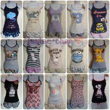 Ladies DISNEY Shorts Vest Cami Top Womens Girls Pyjamas Set Primark S to XL