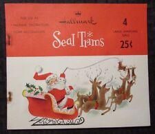 "Vintage Hallmark SEAL TRIMS Christmas Santa 8x7"" 4 Large Sparkling Seals VG/FN"