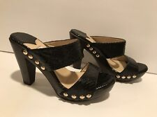 Jimmy Choo Sandals Heels Studded Embossed Leather Snake Print Black 38 / 7.5