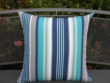 Outdoor Blue Gray Turquoise White Stripe Smart Cushion Cover 45cm Au Made