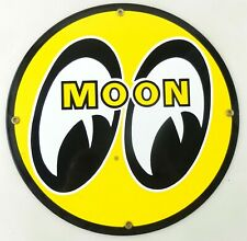 """New Listing12"""" Round Moon Eyes Speed Equipment Gas Oil Porcelain Adv Sign ~ T129"""