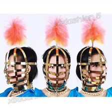 Full Adjustable Neck Head Restraints Metal Mask Hood Lockable Slave Roleplay