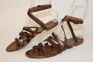 J.Crew Womens Size 10 Leather Gladiator Italy Made Flat Sandals Shoes 36340