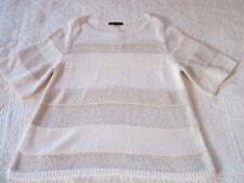 Ann Taylor Womens Sweater Size L Cream/Tan Stripe Short Sleeve Pullover