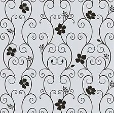 Decorative Window Privacy Film Floral Frosted Glass Static Cling 3 ft x 10 ft