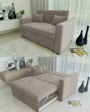 RAVENA 2 Seat Pull out Sofa Bed Living Room Lounge in Mushroom Taupe Fabric