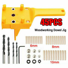 8Pc Handheld Woodworking Dowel Jig Wood Hole Drilling Guide DIY Puncher Tool Kit