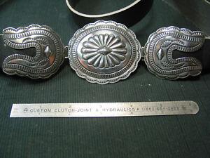 Navajo Silversmith Paul J. Begay---Three piece concho belt set--Leather Belt