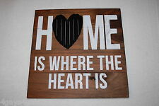"HANGING WALL SIGN Wood HOME IS WHERE THE HEART IS Metal Heart 10.5"" SQUARE"