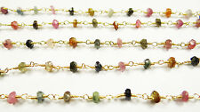 Gold Plated Gem Stone Link Chain 36 4 Mm Natural Multi Tourmaline Facet Handmade