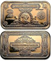 George Washington $2 Silver Certificate 1oz. Pure Copper Bullion Bar!!