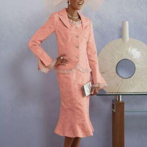 Ashro Formal Dress Vivianna Skirt Suit Peach or White  16W 18W 20W 22W 224W 26W